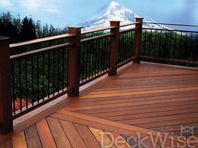 hardwood deck with mountain in background