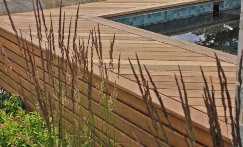Exotic hardwood deck built with Ipe Clip® hidden deck fasteners