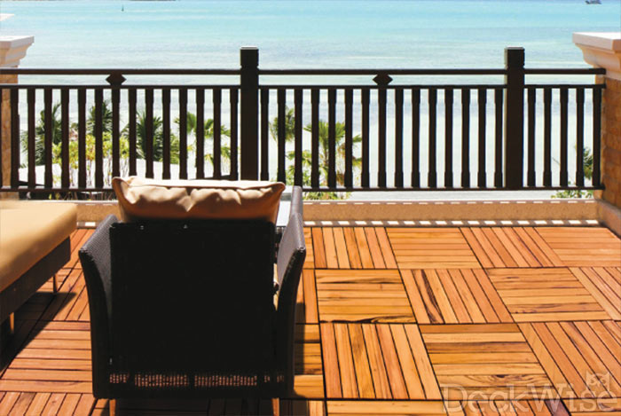 Rooftop balcony made from WiseTile™ exotic modular hardwood deck tiles