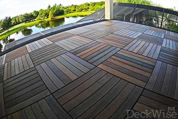Ipe WiseTile™ hardwood deck tile rooftop patio finished with Ipe Oil™