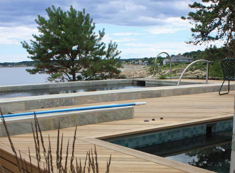 Hardwood pool deck built with Ipe Clip® invisible deck fasteners